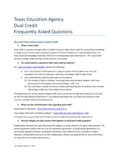 Texas Education Agency Dual Credit Frequently Asked …