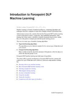 Introduction to Forcepoint DLP Machine Learning