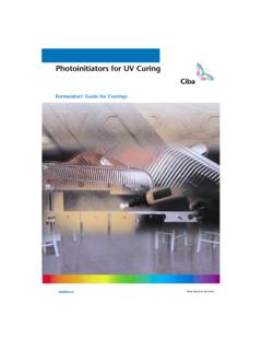 Photoinitiators for UV Curing - mufong.com.tw