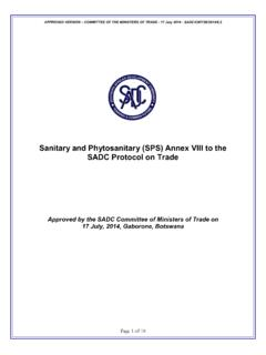 Sanitary and Phytosanitary (SPS) Annex VIII to the SADC ...