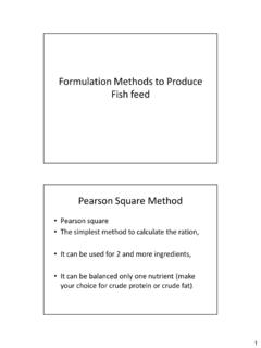Formulation Methods to Produce Fish feed