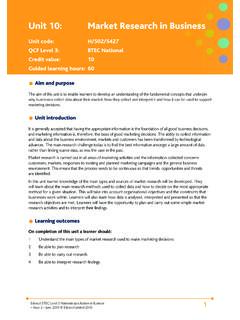 Unit 10: Market Research in Business - Pearson qualifications