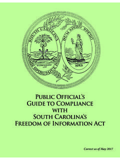 Public Official's Guide to Compliance with South Carolina ...
