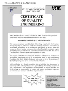 CERTIFICATE OF QUALITY ENGINEERING - Argi