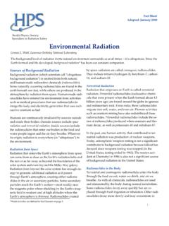 Environmental Radiation Fact Sheet - Health Physics Society