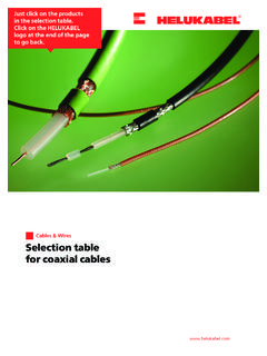 Selection table for coaxial cables - HELUKABEL