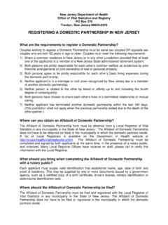 REGISTERING A DOMESTIC PARTNERSHIP IN NEW JERSEY