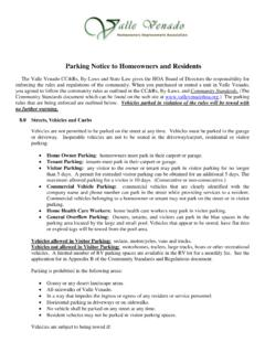 Parking Notice to Homeowners and Residents