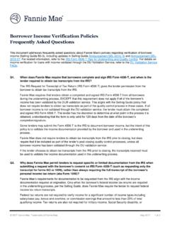 Borrower Income Verification Policies Frequently …