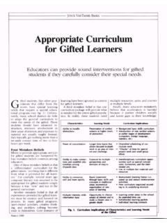 Appropriate Curriculum for Gifted Learners - ASCD