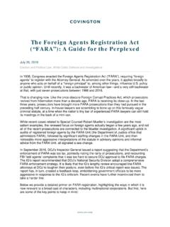 "The Foreign Agents Registration Act (""FARA""): A Guide for ..."