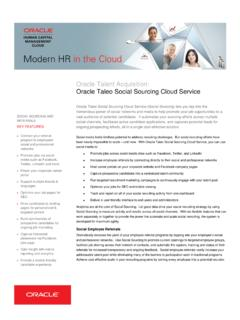 HCM, Social Sourcing - Oracle