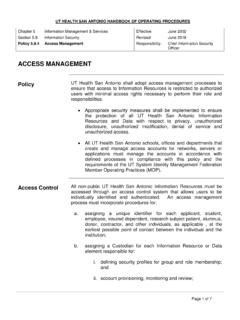 ACCESS MANAGEMENT - UT Health San Antonio