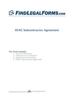 HVAC Subcontractor Agreement - Findlegalforms.com