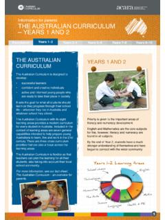 Information for parents. The Australian Curriculum – Years ...