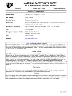 MATERIAL SAFETY DATA SHEET LPS 3 Premier Rust …