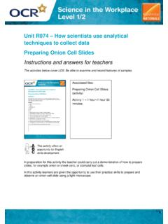 Unit R074 – How scientists use analytical techniques …