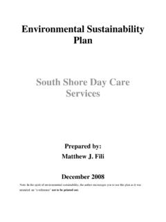 Environmental Sustainability Plan South Shore Day Care ...