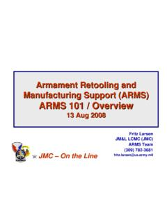 Armament Retooling and Manufacturing Support (ARMS) …