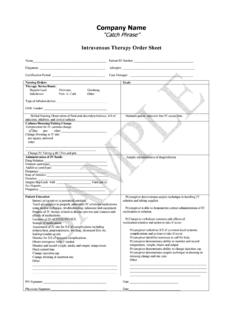 IV Therapy Order - Home Health Forms