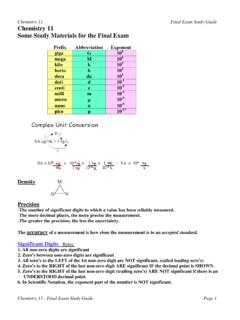 Study Guide for Final Exam - SSS Chemistry