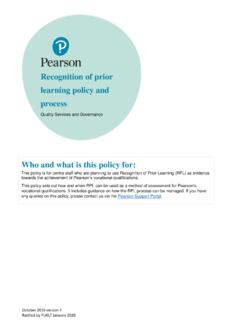 Recognition of prior learning policy and process - Edexcel