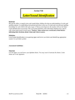 Letter/Sound Identification - Macomb Intermediate …