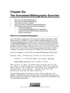 Chapter Six The Annotated Bibliography Exercise
