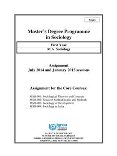 Master's Degree Programme in Sociology