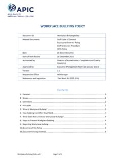 WORKPLACE BULLYING POLICY - APIC Website