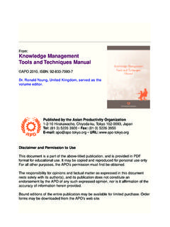 Knowledge Management Tools and Techniques Manual - APO