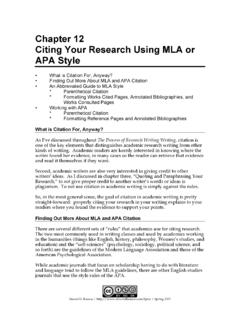 Chapter 12 Citing Your Research Using MLA or APA …