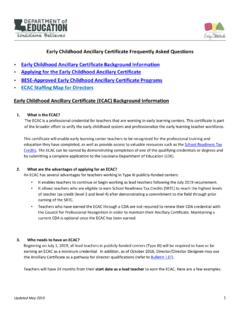 Early Childhood Ancillary Certificate Frequently Asked ...