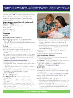 Post Partum and Newborn Care Summary Checklist for …