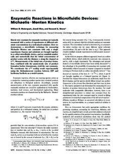 Enzymatic Reactions in Microfluidic Devices: Michaelis ...