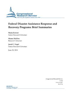 Federal Disaster Assistance Response and …