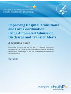Improving Hospital Transitions and Care Coordination …