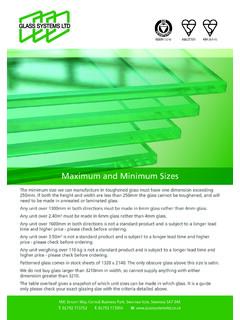 Maximum and Minimum Sizes - Glass Systems