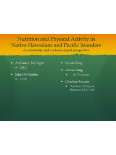 Nutrition and Physical Activity in Native Hawaiians and ...