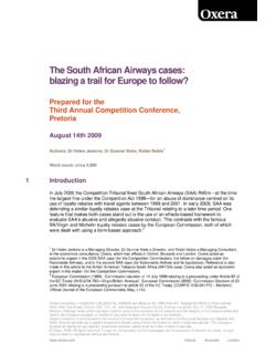 The South African Airways cases: blazing a trail for ...