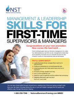 MANAGEMENT & LEADERSHIP SKILLS FOR FIRST …