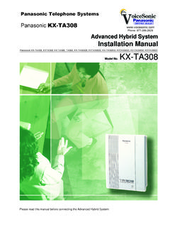 Panasonic KX-TA308 Installation Manual - Voicesonic