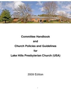 Committee Handbook and Church Policies and Guidelines …