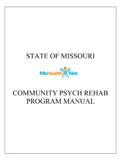 STATE OF MISSOURI PROGRAM MANUAL COMMUNITY …