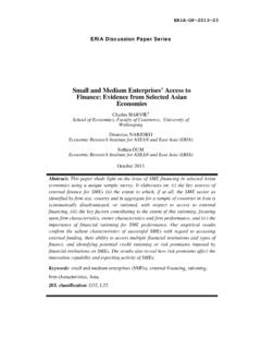 Small and Medium Enterprises' Access to Finance: Evidence ...