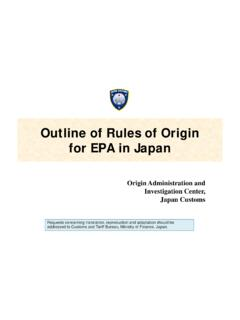 Outline of Rules of Origin for EPA in Japan