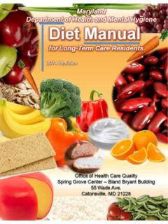 Diet Manual for Long Term Care - Maryland Department of ...