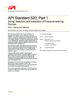 API Standard 520, Part 1 - American Petroleum Institute
