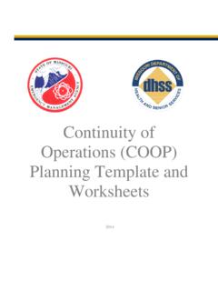 Continuity of Operations (COOP) Planning Template and ...