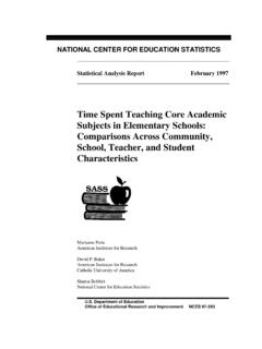 Time Spent Teaching Core Academic Subjects in Elementary ...